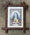 """Antique N Currier Print """"Sacred Heart Of Mary"""" 1846"""