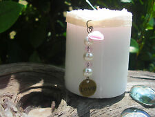 SURVIVOR CANDLE, Breast CANCER, FREE GIFT GO PINK Ribbon Love Heart charm pearl