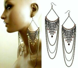 TOPSHOP EXTRA LARGE LONG CAGE CHAIN BEAD STATEMENT CHANDELIER EARRINGS NEW