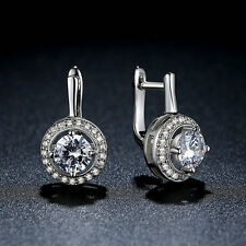 Saint Valentine's Day Sales .925 Silver Full Love Big Clear CZ Dangle Earrings