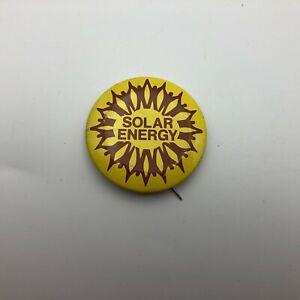 "1978 Vintage Solar Energy 1-5/8"" Pinback Pin Button Badge   N3"
