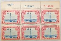 U.S. #C11 1928 5c Mint V. Fine Airmail stamp Plate Block of 6 Carmine and Blue