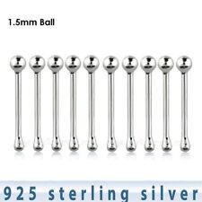 10pcs. 22g 1.5mm Ball Nose Bone .925 Sterling Silver Nose Ring Stud