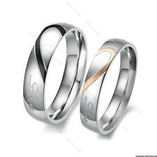 His and Her Love Heart #L Stainless Steel Couple Ring Wedding Bands Promise Ring