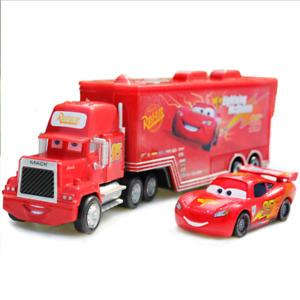 Pixar Cars NO.95 Lightning Mcqueen Car & Mack Superliner Truck 1:55 Diecast Toy