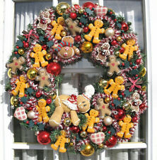 "Christmas Holiday Lighted 22"" Gingerbread Man Festive Wreath"