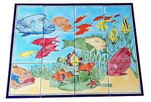 Fische Meer Fliesen Handbemalte Fliesen Fliesenbild  Mosaikfliesen Unterwasser