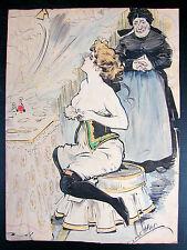 Dessin aquarellé Original Nu devant le miroir CARL HAP Karl Happel 1900