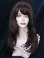 Perfect Razor cut Face Frame Wig Dark Auburn w. Blunt Cut Bangs skin Top WASR 33