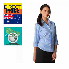 Womens Shirt Blouse Tops Fine Cotton Bengal Blue Casual Office Formal Stripe