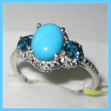 Sleeping Beauty Turquoise London Blue Topaz 2.35c Ring Sterling Silver 925 sz 10