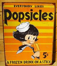 Popsicles 5 cents TIN SIGN retro ad metal vtg rustic kitchen wall decor kid 1306