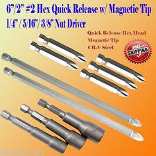 "10 Phillips #2 Screw Nut  Driver Bit Quick Release Hex Shank Magnetic Tip 1/4"""