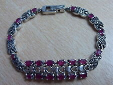 925 STERLING SILVER MARCASITE & RED  RUBY TENNIS BRACELET 7 3/8""