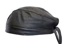 Bandana moto vrai doux cuir d'agneau cuir noir zandana pré-noué chapeau