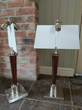 Pair Art Deco Library Double Sided Sheilded Lamps Privacy Lights Wood Retro,