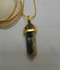 Natural gemstone necklace agate hexagonal pendant gold plated necklace