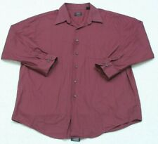 Alfani Burgundy Red Pocket Dress Shirt Solid Long Sleeve Extra Large XL 17 32/33