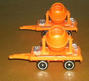 "Two 1/64 Scale Cement/Concrete Mixer Trailers (3"") Plastic Construction Toys"
