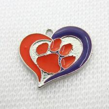 10pcs NCAA Enamel Clemson Tigers Dangle Charm Heart Pendant DIY Bracelet Jewelry