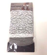 Women's Lace Knit BOOT CUFF Leg Warmer Topper White / Gray *Grace* USA Seller