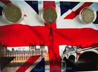 3  x 50p coins marking EEC /UK journey mounted on BREXIT background