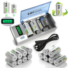 C D Size Rechargeable Batteries+ AA AAA 9V NI-MH NI-Cd LCD Charger USA