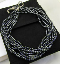 Tiffany & Co Sterling Silver 8 Strand Gray Hematite Bead Torsade Toggle Necklace