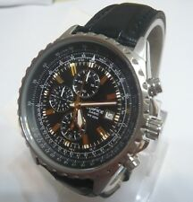 Casio Edifice Analog Chronograp Leather Band EF-527L-1 Black Watch + Gift New
