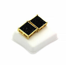 Mens Gold Plated Black Cz TC Square Earrings 10 Row Micro Pave Hip-Hop