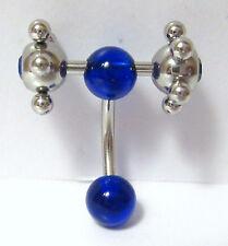 Steel Big Rolling Balls Blue Crystal Bar VCH Clit Clitoral Hood Ring 14 gauge