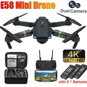 Faltbar WIFI FPV Drohne mit 4K HD Dual Kamera Mini Selfie Quadrocopter RC Drone