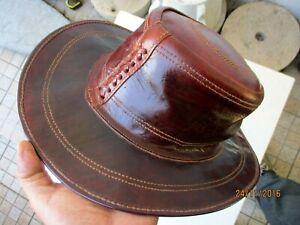 Vintage Men True Thick Leather Handmade Beautiful Cowboy Hat Size: M (56)