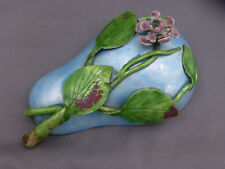 Antique Chinese Pear Shaped Enamel on Copper Lidded Box Applied Leaves & Flower