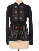 3 J WORKSHOP ~ JOHNNY WAS ~ JWLA Black Cotton India Inspired Embroidered Top ~XS