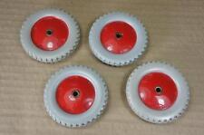 """Meccano No.187 grey & red plastic road wheels 2½""""dia x 4"""
