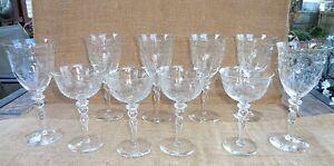 VINTAGE DAISY BUTTON & LEAF CUT  CRYSTAL WINE &  SHERBET STEMWARE GLASSES