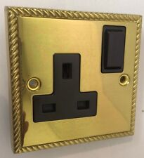 Georgian Brass Switched Socket 13 Amp Double Pole with Brown Insert