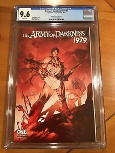 ARMY OF DARKNESS 1979 #1 S SAYGER 1:11 FOC BLOOD RED VARIANT DYNAMITE CGC 9.6