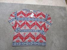 NEW Ralph Lauren Denim & Supply Aztec Sweater Womens Small Gray Red Blue RARE