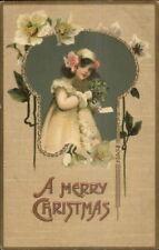 Christmas - Little Girl in White Jacket & Hat c1910 Postcard