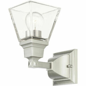 Livex Lighting Mission 1-Light Bath Vanity Wall Sconce in Brushed Nickel