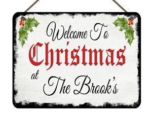 Personalised Christmas At The Family Hanging Plaque Wall Sign Present Gift Xmas