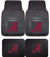 Alabama Crimson Tide Heavy Duty Floor Mats 2 & 4 pc Sets for Cars Trucks & SUV's