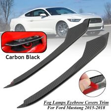 For 2015-2018 Ford Mustang Front Carbon Fiber Fog Light Lamp Eyebrow Cover Trim