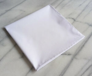 Cotton Mens Pocket Square- Hand rolled 100% Cotton Solid White Pocket Square