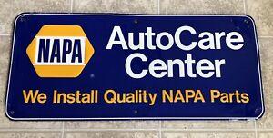 """NAPA Auto Care Center Embossed Aluminum Sign 35½"""" X 15¾"""" Genuine"""