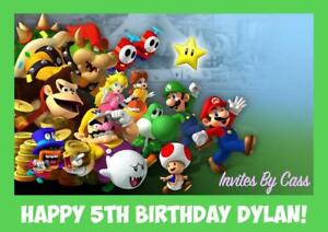 SUPER MARIO BROTHERS A4 EDIBLE IMAGE CAKE TOPPER BIRTHDAY PARTY KIDS