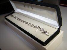 NEW KAY JEWELERS 64 DIAMONDS .32TCW STERLING SILVER OPEN HEART TENNIS BRACELET