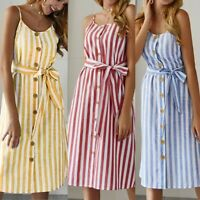 Women's Sling Stripe Button Strappy Dresses Ladies Summer Holiday Beach Dress